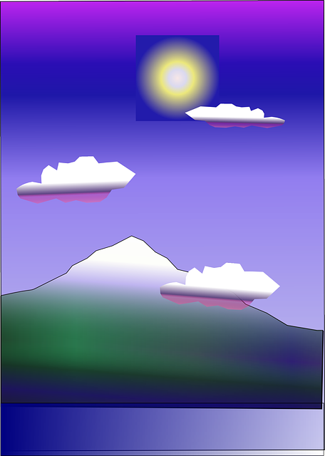 water, cloud, mountain, sun, cartoon, sky, landscape