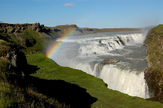 waterfall, iceland, rainbow, nature, water