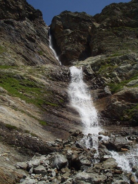 waterfall, white water, landscape, nature, mountains
