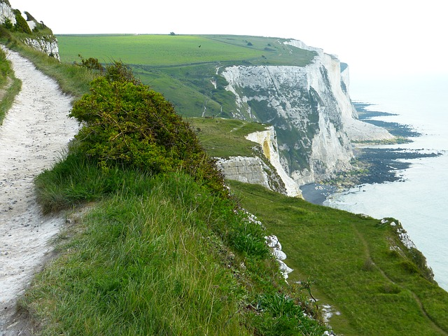 white cliffs, cliffs, dover, sea, coast, path, away