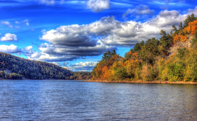 wisconsin, devil's lake, clouds, sky, landscape, hdr