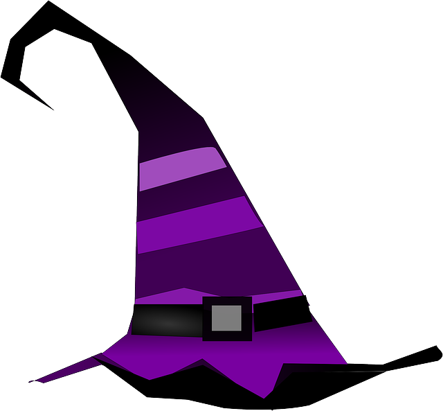 witch, wizard, hat, pointed, sorcerer, stripes, lilac