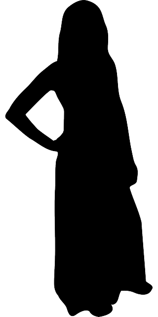 woman, girl, female, black, dress, silhouette