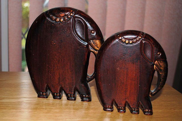 wood, elephants, carved, ornaments