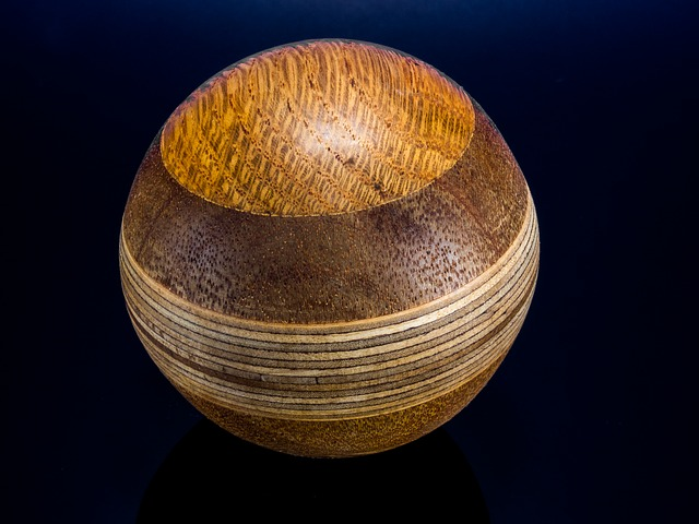 wooden ball, turned, hand labor