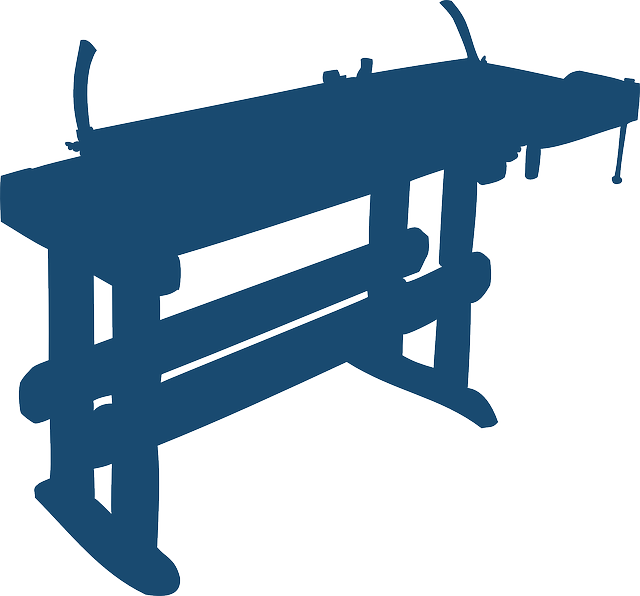 workbench, craft, craftsmanship, silhouette, blue