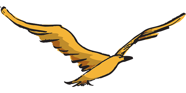yellow, bird, flying, wings, art, feathers, fly