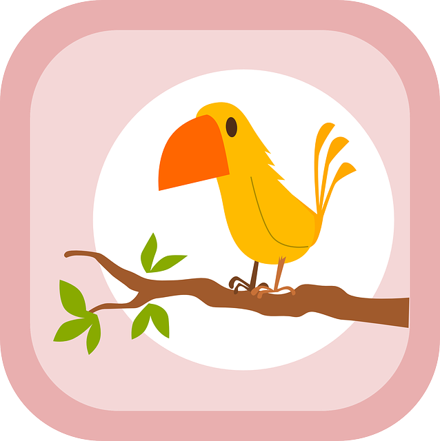 yellow, tree, cartoon, birds, bird, branch, free, cute