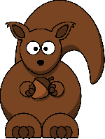 , simple, circle, acorn, cartoon, squirrel, nut, tail