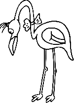 black, white, bird, bow, flamingo, long, neck, animal