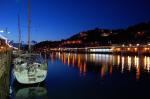 boat, harbour, night