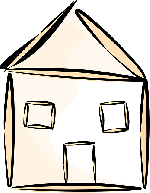 building, house, home, stylized, simple, outline