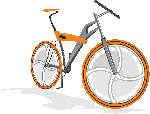 cartoon, orange, bike, bicycle, cycling, wheel, sports