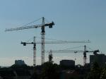 crane, baukran, construction work, city, site
