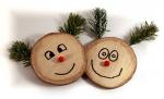 faces, laugh, wood, figures, christmas, tannenzweig