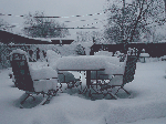 garden furniture, snow, winter, cold