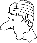 head, black, outline, white, cartoon, bandage, bandaged