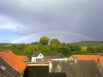 oberlauken, germany, town, sky, clouds, rainbow