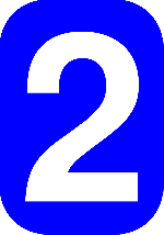 two, blue, white, number, rounded, rectangle, numeral