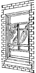 wall, brick, double, hung, window, see, through