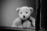 window, glass, dirt, dust, teddy, teddy bear