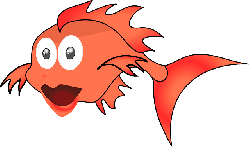 , cartoon, fish, goldfish, smile, fins, golden, border