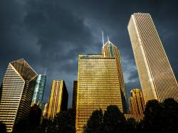 , chicago, downtown, dawn, thunderstorm, buildings
