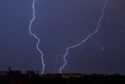 , flashes, night, weather, thunderstorm, city
