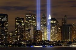 , new york city, tribute in lights, sky, clouds, night