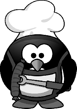 , penguin, barbecue, animal, funny, tux, cook, sausage