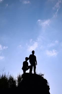 , silhouette, boys, sky, tall, rock, people, blue sky