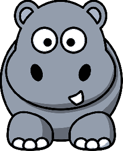 , simple, happy, cartoon, circles, hippo, animal, smile