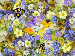 , spring flowers, collage, floral