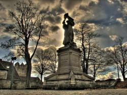 , statue, urban, sky, clouds, evening, dusk, sunset, hdr
