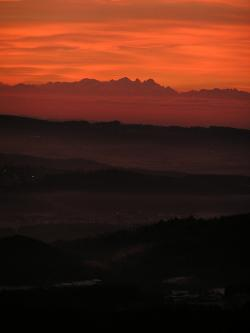 , sunrise, bayer forest, danube valley, alpenblick, view