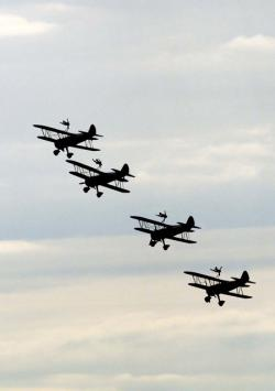 aeroplane, biplane, flying, silhouette, formation