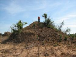 africa, giant ant hill, unusual, sky, clouds, nature