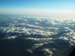 aircraft, cloud, clouds, sun, sky, white, blue, fly
