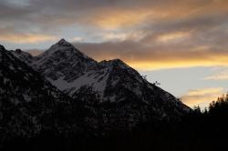 allgäu, alpine, mountains, abendstimmung, red top