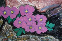 alpine, flowers, painting, image, art, paint, color