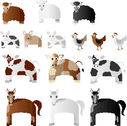 animals, chicken, cow, horse, pig, sheep