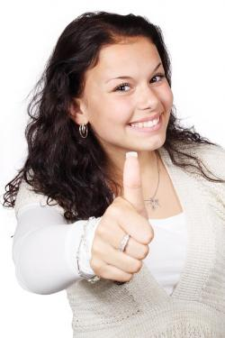 approval, female, gesture, hand, happy, isolated