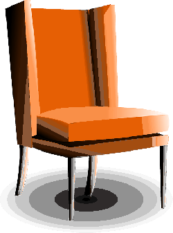 armchair, old-fashioned, orange, furniture, living room