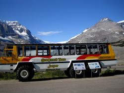 athabasca glacier, touring bus, transportation, tourism