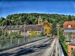 austria, village, bridge, buildings, church, hdr