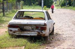 auto, wreck, street, paraguay, south america