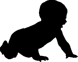 baby, crawling, child, infant, shadow, silhouette