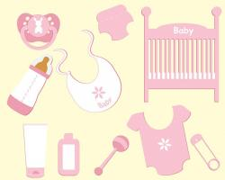 baby, girl, accessories, elements, bib, soother