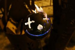 ball, fire, metal, steel, facial, night, smile, funny