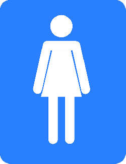 bathroom, sign, female, woman, girls, blue, person
